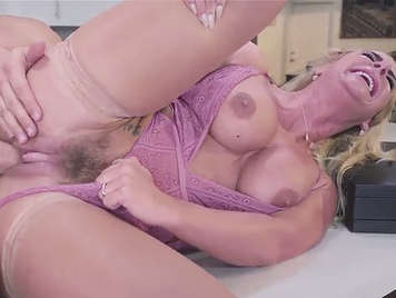 Busty mature with hairy pussy and swollen clitoris screams with pleasure