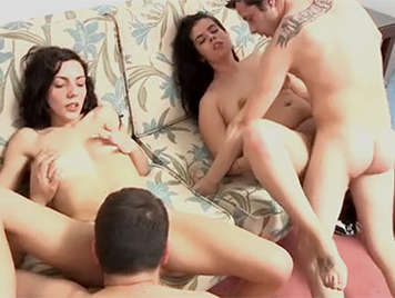 Two amateur couples in a sex video of sexual interchange