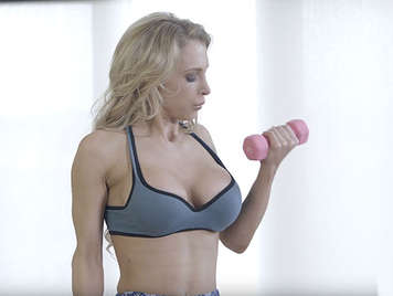 Kyle is fucking her stepmother's pussy while she does aerobics and ends up cumming on her powerful ass.