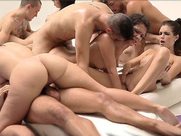 Horny student gangbang in the locker room