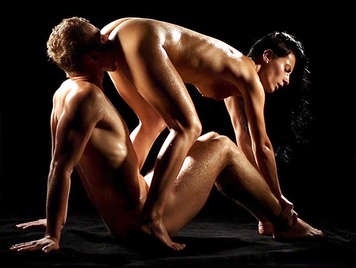 Sensual sex scene of an oil covered couple fucking up to cover their cum sex