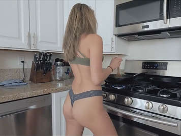 Fucking in thong in the kitchen
