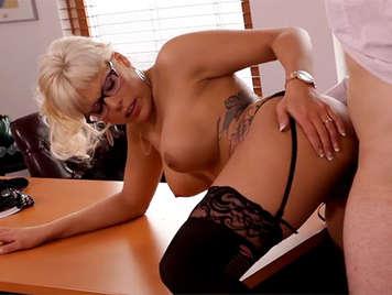 Busty blonde secretary in lingerie fucked hard in the office