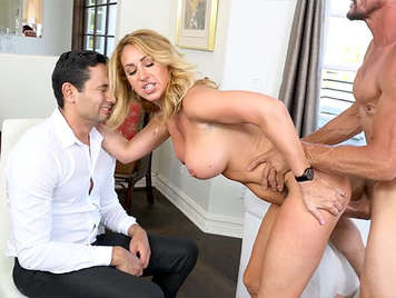 Big tits cheating blonde woman fucked in front of her cuckold husband
