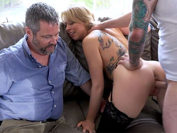 Cheating blonde shaved wife fucks with a stud in front of her cuckold husband