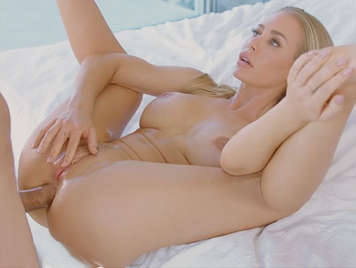 Fucking the ass of a blonde milf with beautiful tits