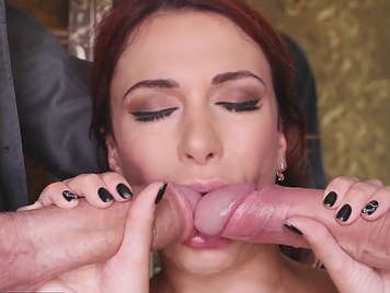 Sensual porn with a beautiful girl who is able to suck two dicks