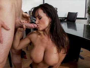 Busty milf in lingerie fucking in the office receives a cumshot between her tits