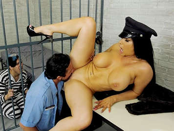 Sex in jail with a brunette milf with big tits