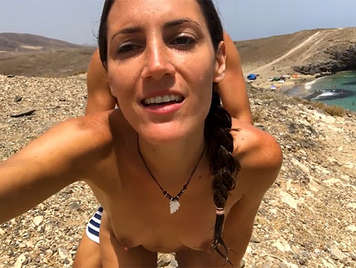 Anal sex on the beach with a natural tits girl swallowing cum