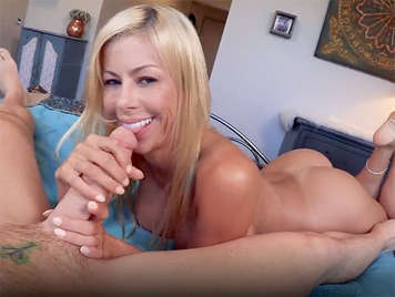 Busty blonde milf fucking in POV with her stepson's huge cock