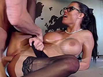 Busty secretary fucking hard receives facial