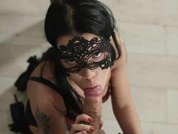 Extreme sex bondage with a brunette masked in lingerie