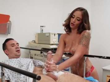 nurse cleans the patient's cock with her mouth