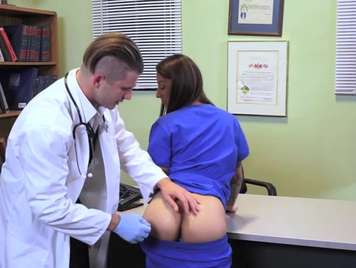 Doctor does a very deep examination to his nurse