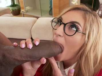 Secretary with glasses is eating a big black cock