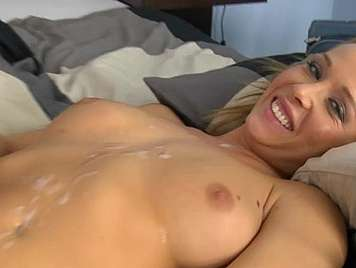 Cum between the tits of an 18 year old blonde