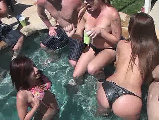 Feast of bikinis at the pool with hardcore sex