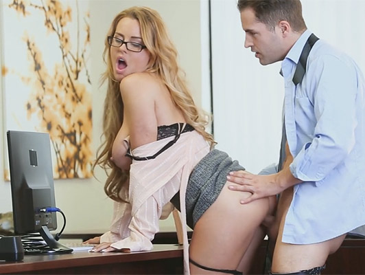 Efficient secretary with big tits making him a straw with tits and swallowing cum