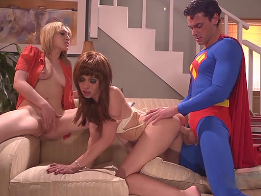 Superman and his super cock fucking two horny sluts