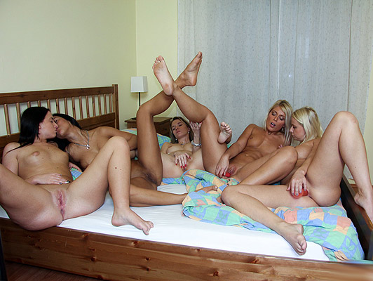 Get Laid Five lesbian fucking great in an orgy just for girls