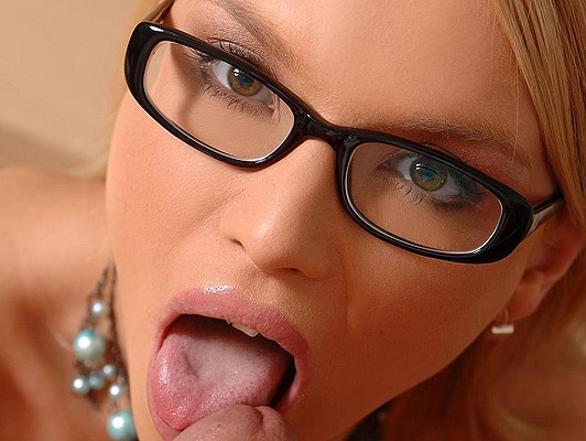 Beautiful blonde with glasses sucking cock swallows all the thick, hot cum