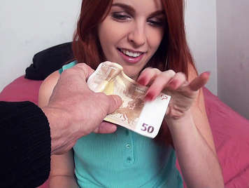 Spanish redhead girl fucks for money and eating cumshot