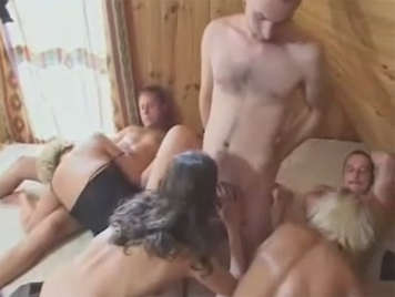 Swinger sex on the sauna