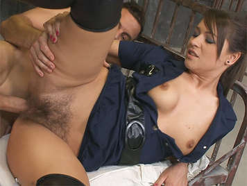 Anal sex with a police woman with hairy pussy in one cell