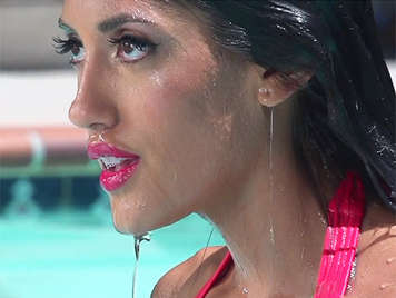 Tanned latina goddess in the pool with bikini fucking and sucking cock in slow motion