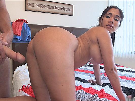 Interim Cuban maid big tits and ass fucked at home