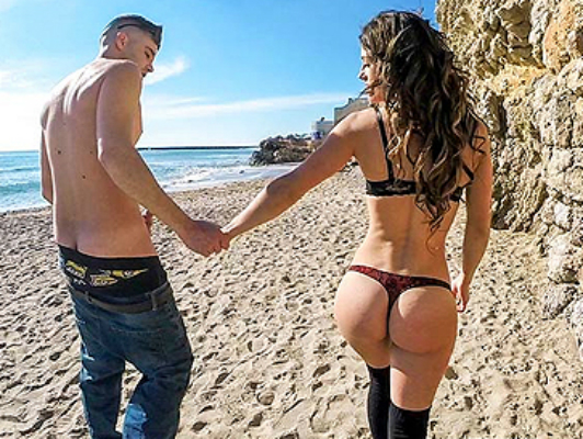 Hard fucking on the beach with a bold girl in thong