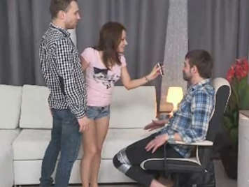 Unfaithful husband tied to a chair and letting himself punishes women fucked by another man