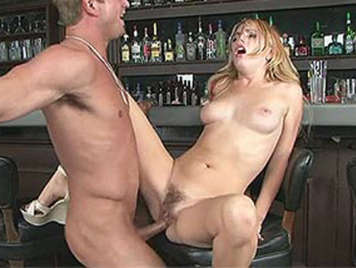 Lexi Belle and her hairy pussy in a bar