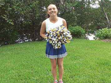 Cheerleader is trained in the garden and fucking with their pompoms at home