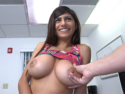 Mia Khalifa in casting of busty girls