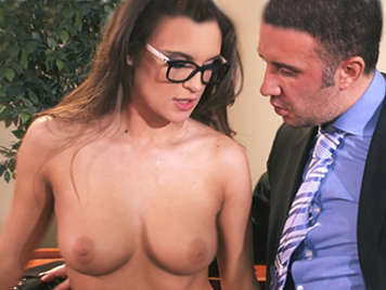 Brunette secretary with glasses and a customer natural tits fucks