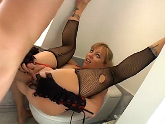 MILF blonde slut being fucked in the ass in restroom