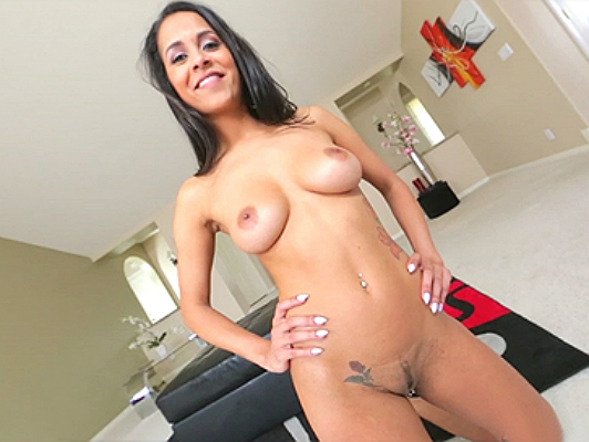 Brazilian precious natural tits slut sucks and moves the ass