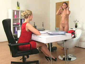 Sexy blonde  female agent seduces delicious brunette in casting interview