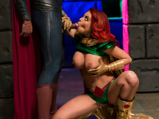 Porno parody of Batman vs. Superman with a redhead with blue eyes