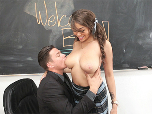 Mulatto impressive schoolgirl has big natural tits and blue eyes