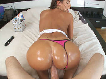 Awesome girl big tits fucking with thong on