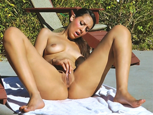 Sensual girl masturbating in the pool