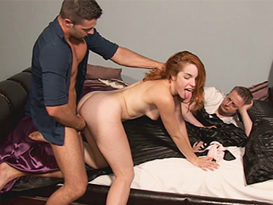 Young married redhead is unfaithful to her husband in front of him