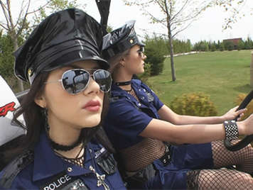 Two bad girls cops have sex in a threesome a huge black cock