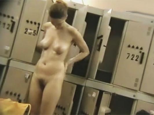Hidden camera in women's locker room in the gym