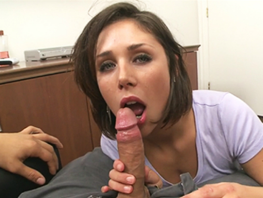 Beautiful girl with pretty eyes knows how to give a blowjob