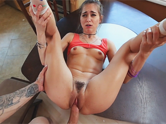 Young girl with natural tits and hairy pussy fucked till cum by a big cock
