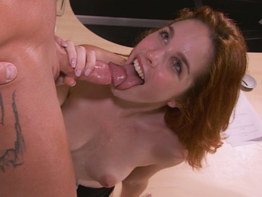 Natural redhead beautiful blue eyes sucks cock until you cun into her mouth